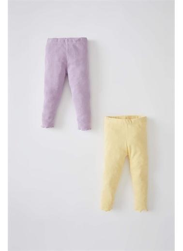 DeFacto Kız Bebek Basic 2'li Fitilli Uzun Tayt Mor